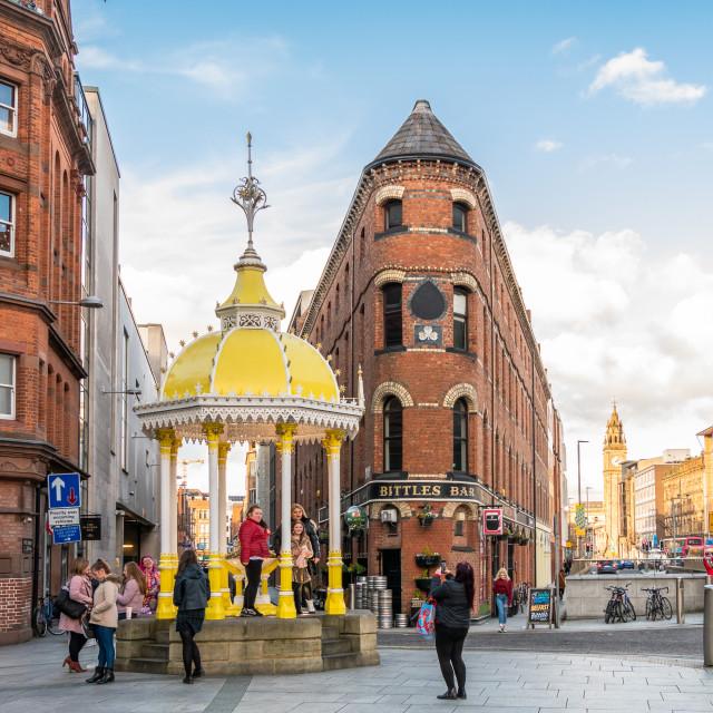 """Jaffe Fountain and Bittles Bar, Belfast"" stock image"