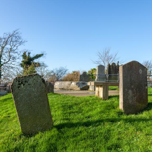"""Down Cathedral, Downpatrick. Saint Patricks grave"" stock image"
