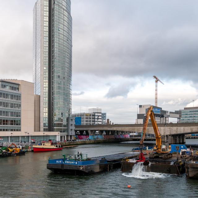 """Dredging River Lagan, Belfast"" stock image"
