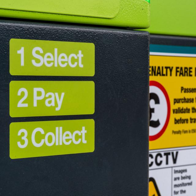 """""""Glider Bus ticket machine, Belfast"""" stock image"""