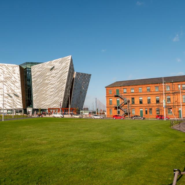 """Belfast Titanic and Titanic Hotel, Belfast, Northern Ireland"" stock image"