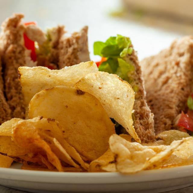 """Sandwiches with potato crisps"" stock image"