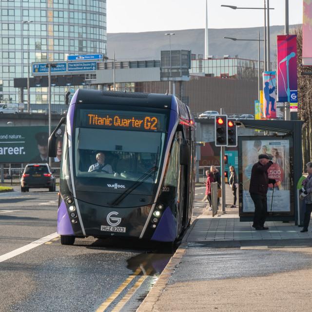 """""""Glider Bus, Belfast, Northern Ireland"""" stock image"""