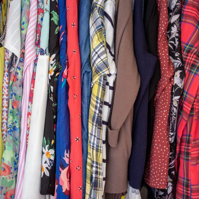 """Female clothing hanging in wardrobe"" stock image"