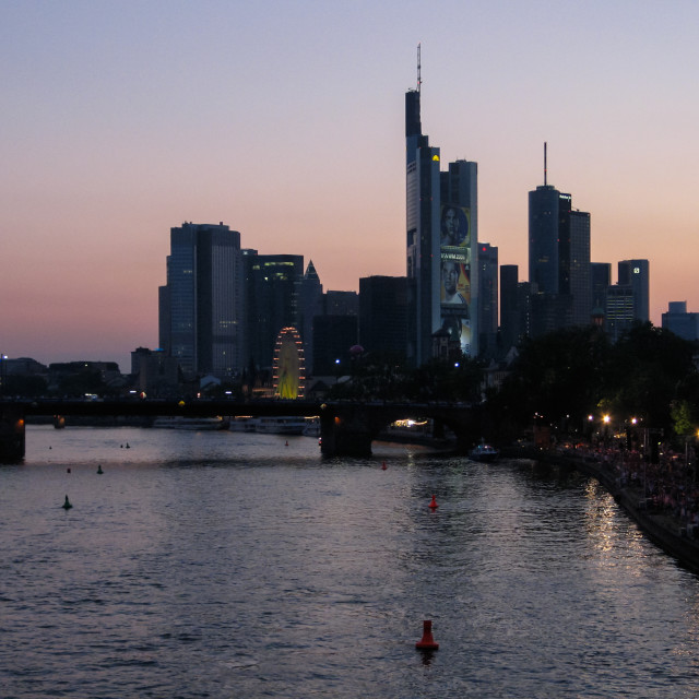 """""""Unique big screen on the river in the Frankfurt fan zone during the 2006 Football World Cup in Germany"""" stock image"""