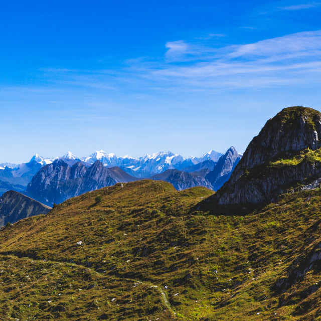 """""""Hikers walking the paths on the summit of Rochers-de-Naye mounta"""" stock image"""