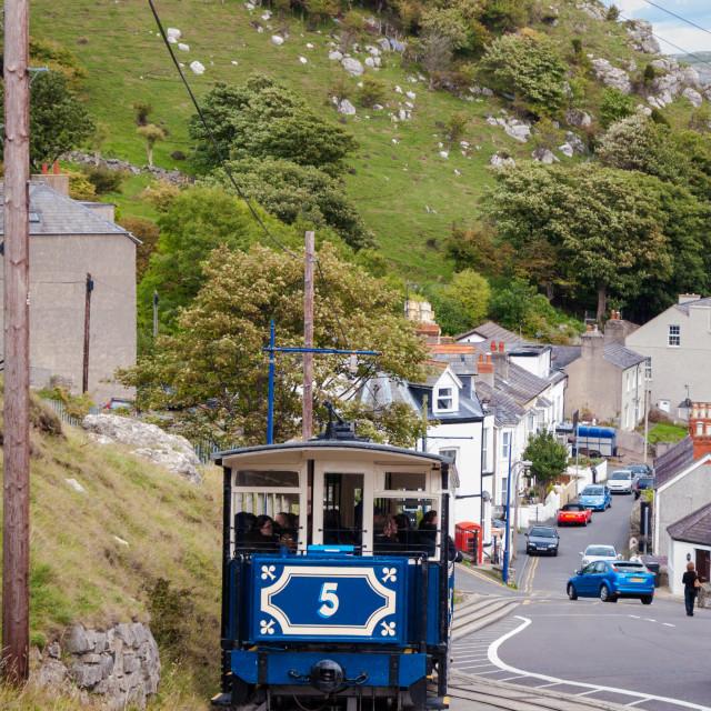 """Great Orme Tram railway, Llandudno, Conwy, Wales, UK"" stock image"