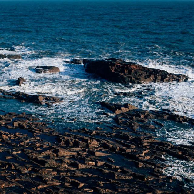 """Rugged rock terrain on the North Sea coast by Seaton Cliffs - Ar"" stock image"
