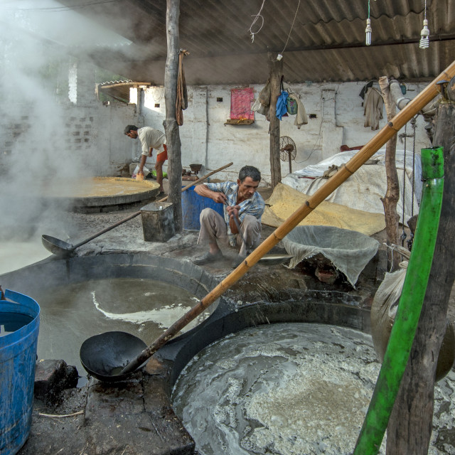 """""""A Gud (Jaggery) Factory"""" stock image"""