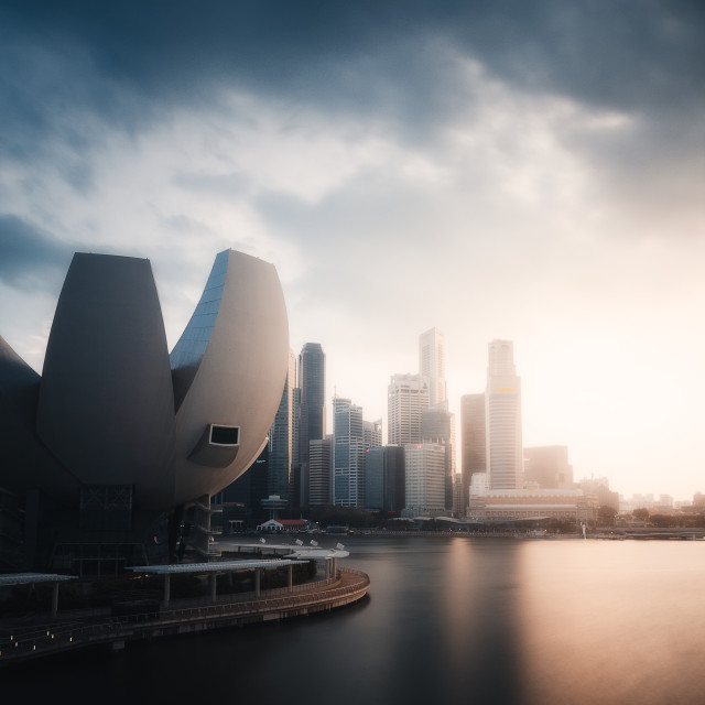 """Singapore Sunset Storm"" stock image"