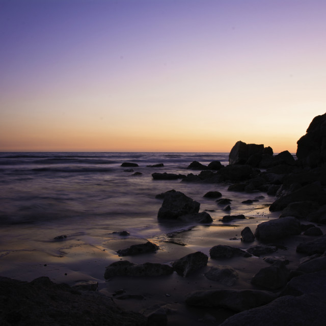 """Beach purple sunset"" stock image"
