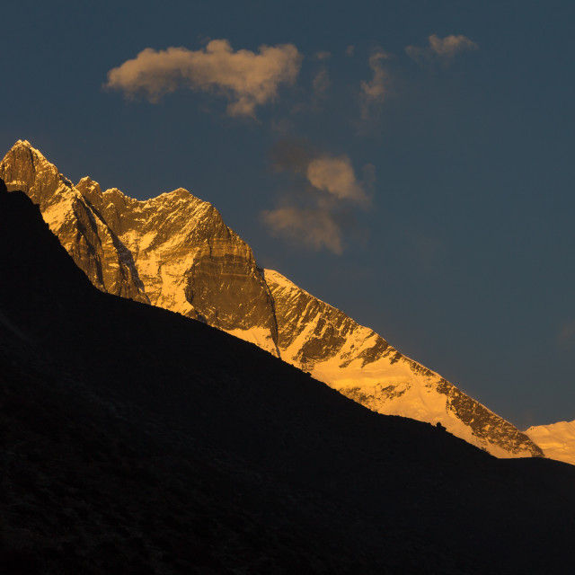 """Lhotse South Face at sunset seen from the Imja Khola valley"" stock image"