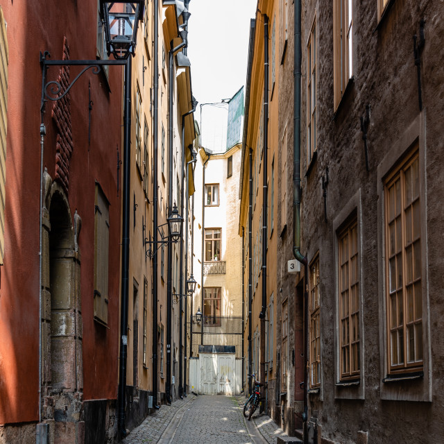 """""""Narrow cobblestoned street in Gamla Stan, the medieval Old Town of Stockholm"""" stock image"""