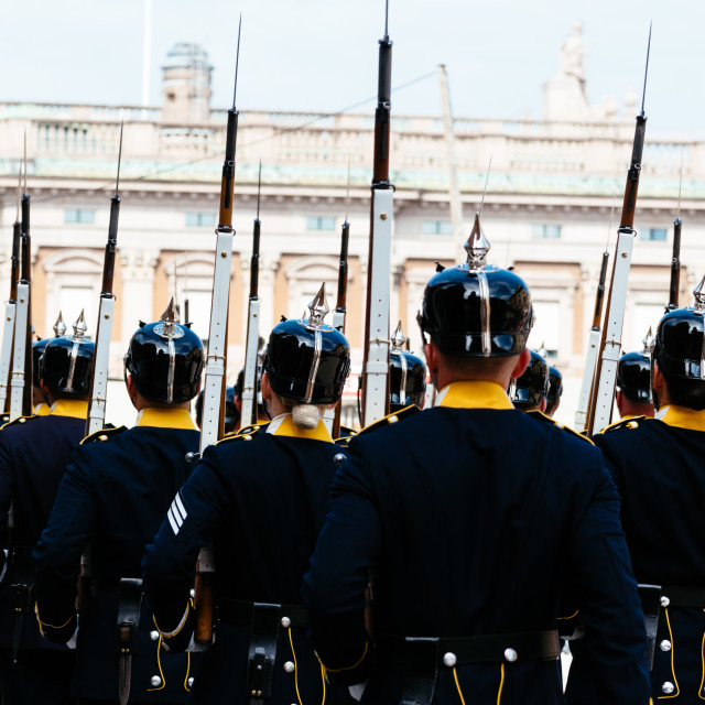 """""""Unidentified soldiers marching in a changing of the guard in old military uniforms"""" stock image"""