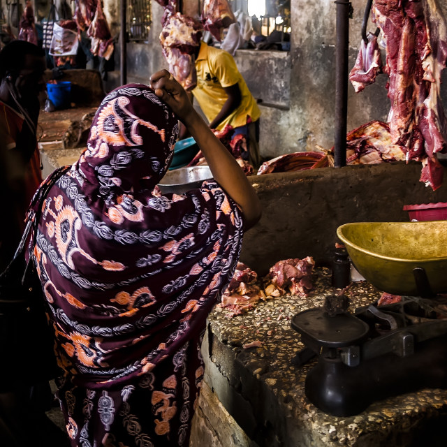 """The butcher stall"" stock image"