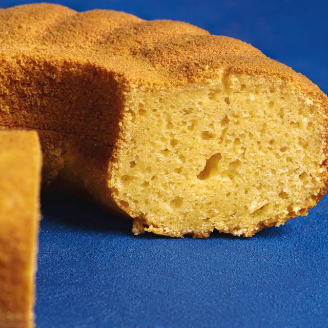 """Cornmeal cake section close-up. Festa junina dessert"" stock image"
