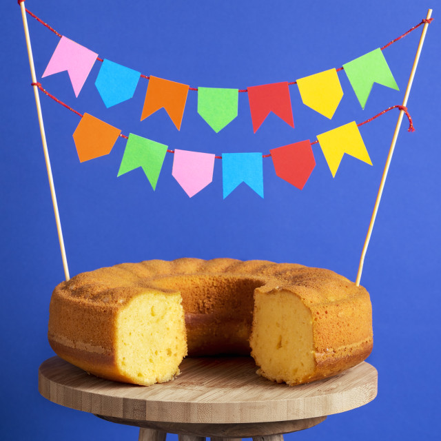 """Cornmeal sponge cake. Brazilian dessert, fest junina food"" stock image"
