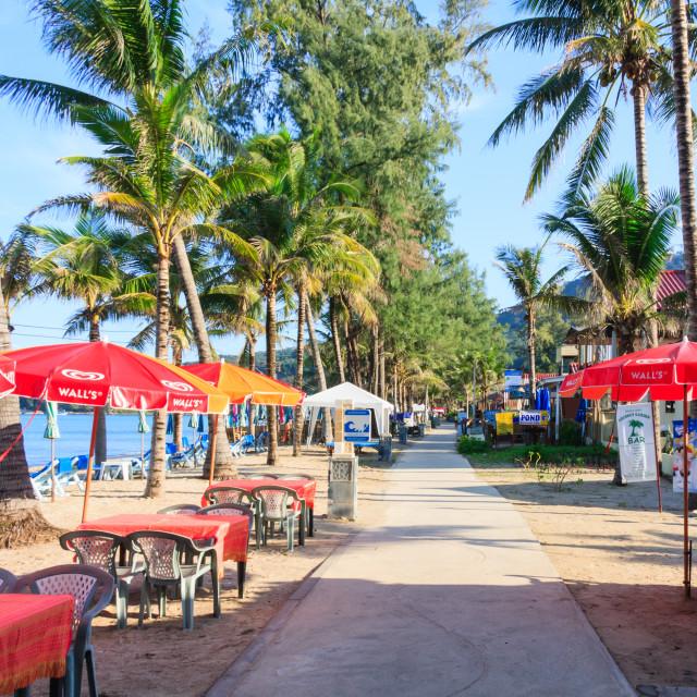 """Kamala beach just after sunrise"" stock image"