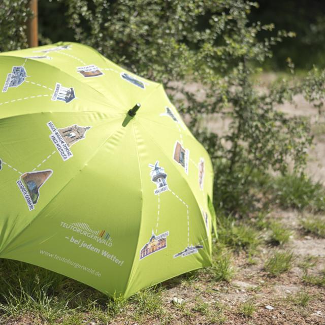 """advertising umbrella of Teutoburger Wald"" stock image"