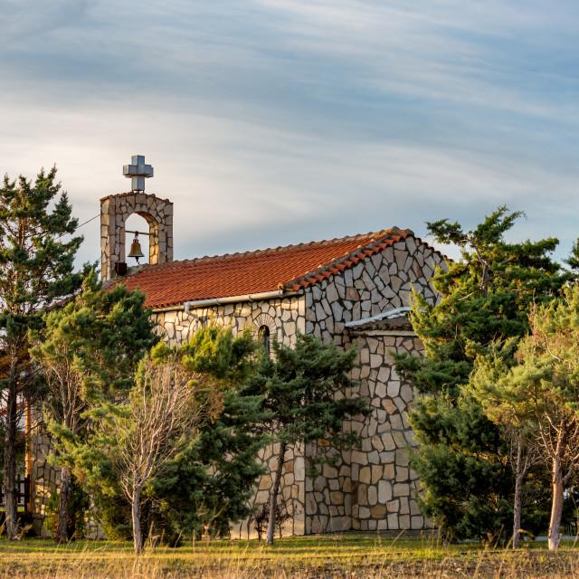 """""""Orthodox church of Arogi, Xanthi region, Greece"""" stock image"""
