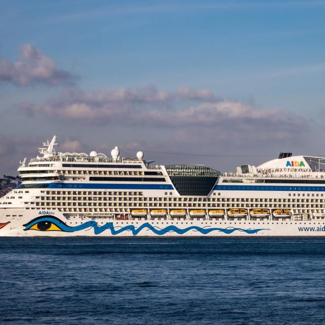 """Cruise ship AIDAblu navigating on Tagus River"" stock image"