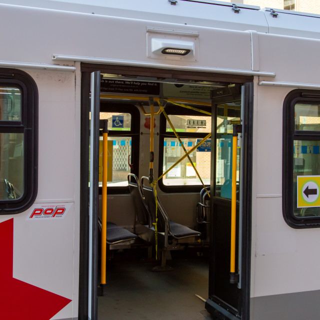 """Rear Boarding Only on OC Transpo Bus during COVID-19"" stock image"