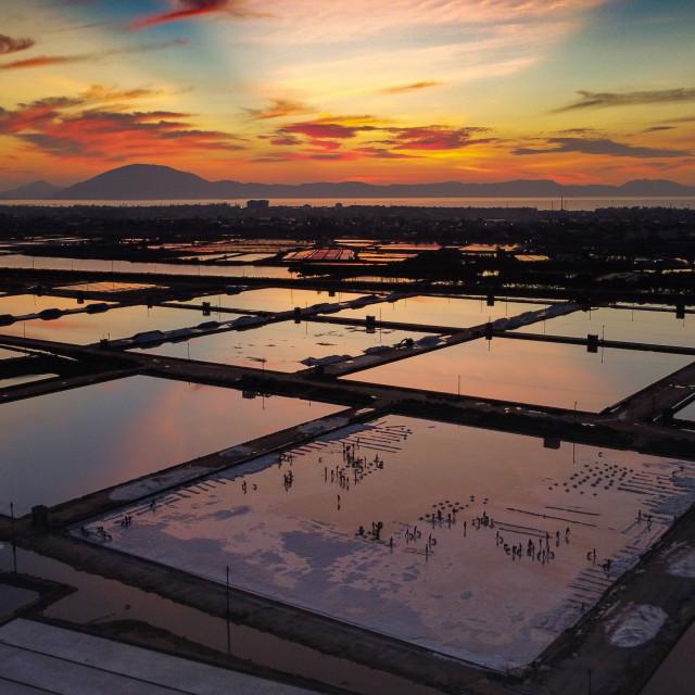 """Morning at a salt farm at Ninh Hoa, Vietnam."" stock image"
