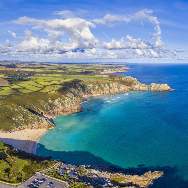 """Porthcurno beach, Porthcurno near Lands End, Cornwall, England"" stock image"