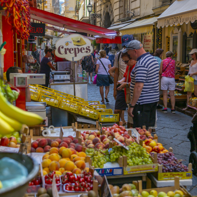 """View of fruit stall on busy Via S Cesario, Sorrento, Campania, Italy, Europe"" stock image"