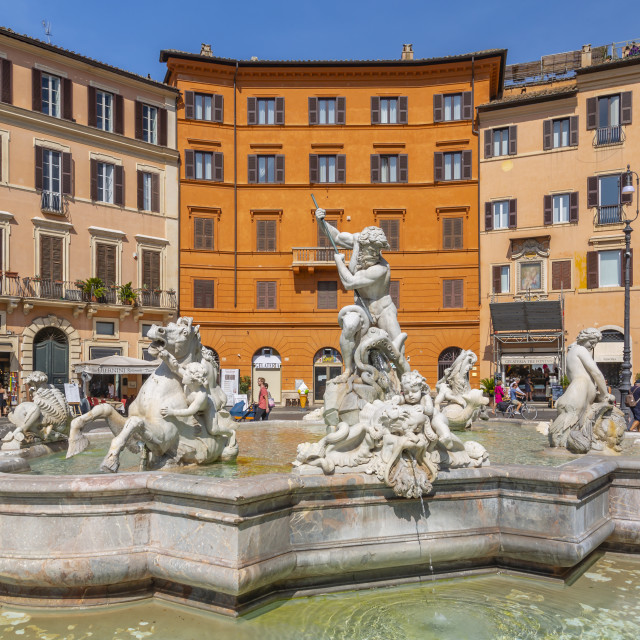 """""""View of the Neptune Fountain and colourful architecture in Piazza Navona,..."""" stock image"""