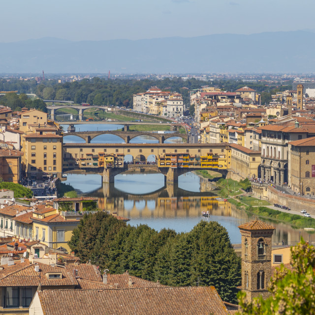 """""""View of River Arno and Ponte Vecchio seen from Piazzale Michelangelo Hill,..."""" stock image"""