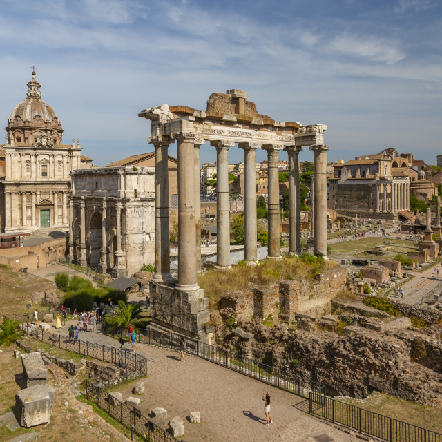 """""""View of Roman Forum (Foro Romano), Temple of Saturn and Arch of Septimius..."""" stock image"""