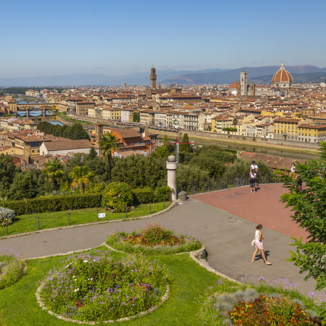 """""""View of Florence seen from Piazzale Michelangelo Hill, Florence, Tuscany,..."""" stock image"""