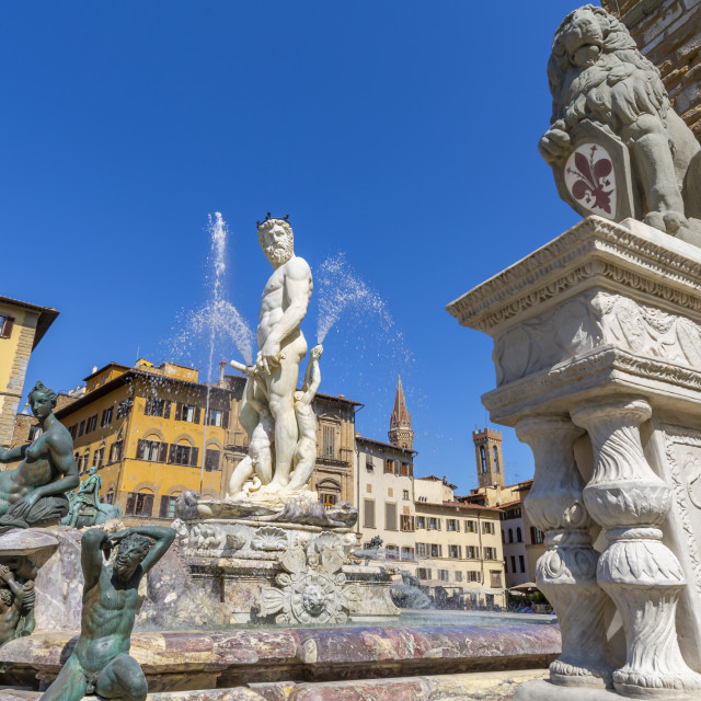 """""""View of Neptune Fountain in Piazza Signoria, Florence, Tuscany, Italy, Europe"""" stock image"""