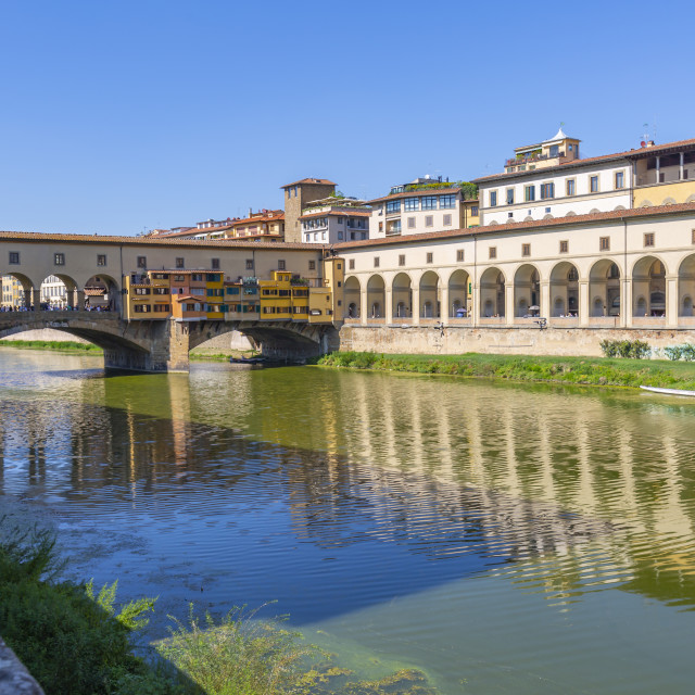 """""""View of River Arno and Ponte Vecchio, Florence, Tuscany, Italy, Europe"""" stock image"""