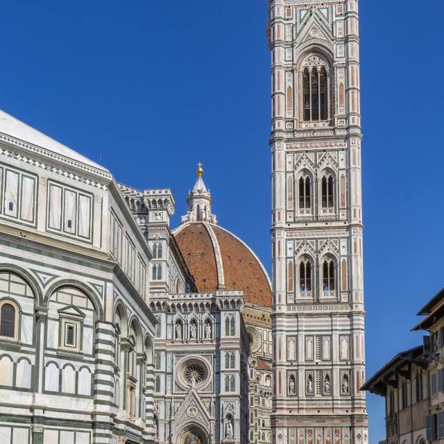"""""""View of the Baptistery and Campanile di Giotto, Piazza del Duomo, Florence..."""" stock image"""