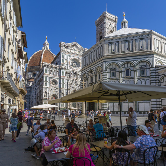 """""""View of cafe and the Baptistery and Campanile di Giotto, Piazza del Duomo,..."""" stock image"""