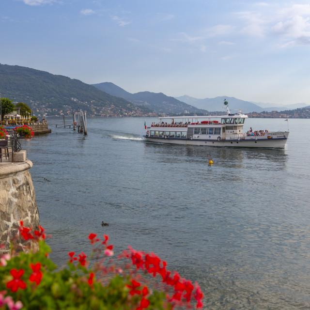 """""""View of ferryboat on Lake Maggiore from Baveno, Lago Maggiore, Piedmont,..."""" stock image"""