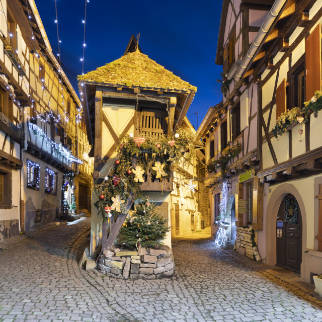 """""""Half-timbered houses along Rue du Rempart Sud lit up with christmas..."""" stock image"""