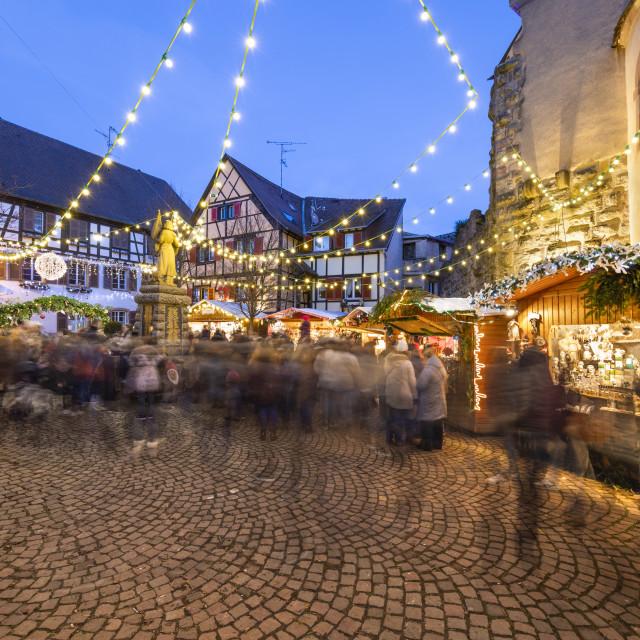 """""""Christmas market at the Place du Marche aux Saules, Eguisheim, Alsace,..."""" stock image"""