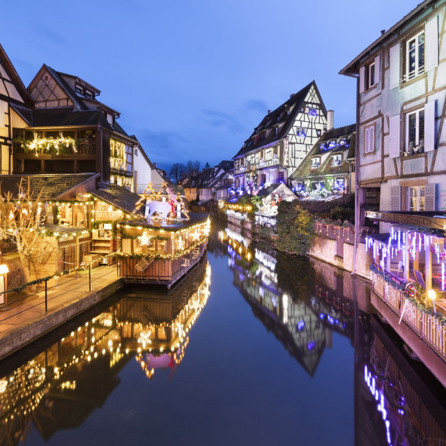 """""""Christmas decorations on old buildings along La Lauch river in the Little..."""" stock image"""