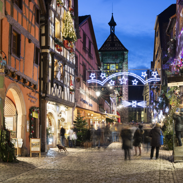"""""""Rue du General de Gaulle covered in Christmas decorations illuminated at..."""" stock image"""