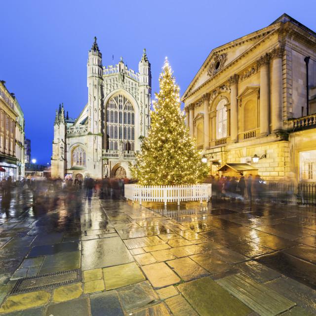 """Christmas tree outside the Roman Baths and Bath Abbey, Bath, Somerset,..."" stock image"