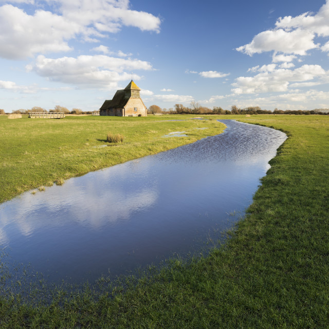 """""""St Thomas a Becket Church on Romney Marsh in afternoon sunlight, Fairfield,..."""" stock image"""