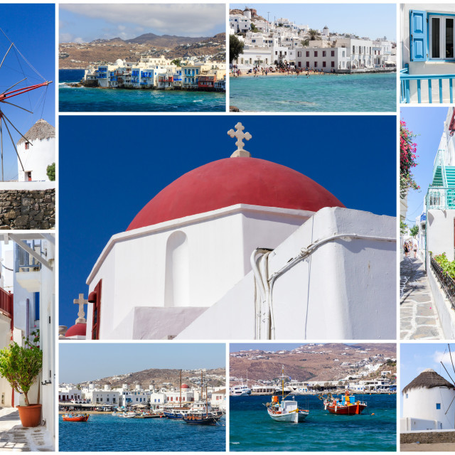 """""""Travel images collage of Mykonos, Greece"""" stock image"""