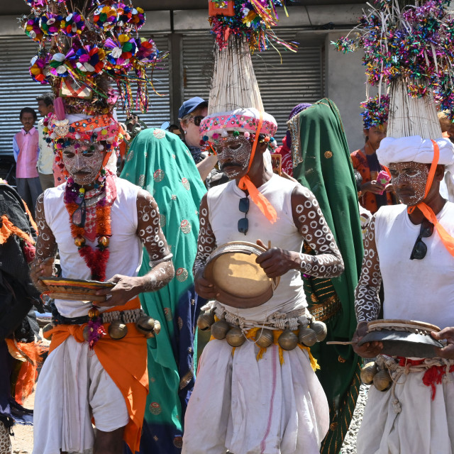 """""""Adavasi tribal men, faces and bodies decorated, wearing ornate headgear,..."""" stock image"""