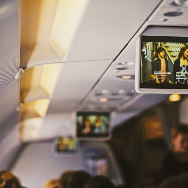"""Tv screen in the airplane, travel and telecommunication"" stock image"