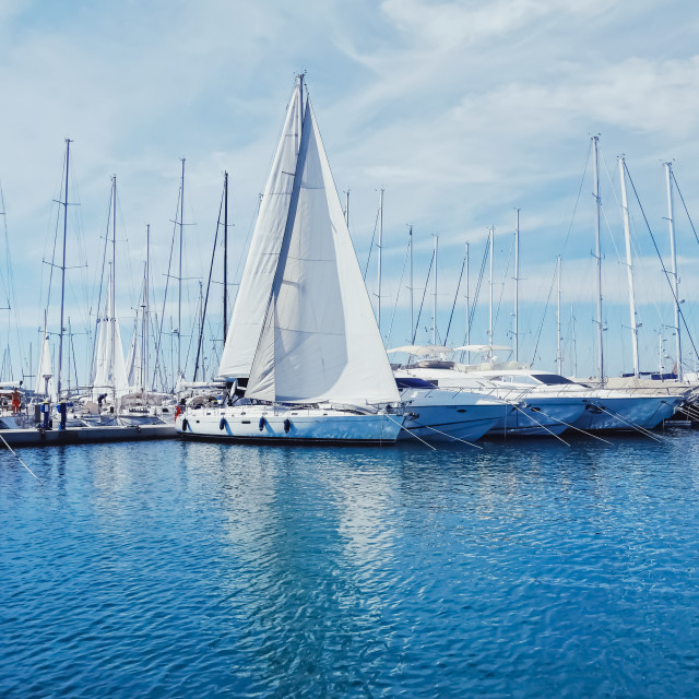 """Yachts and boats in the harbor on Mediterranean sea coast, travel and leisure"" stock image"