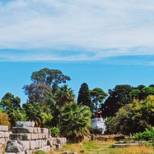 """Ancient ruins area and gardens"" stock image"