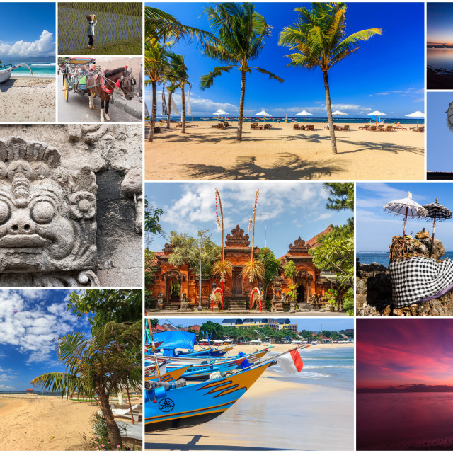 """""""Travel images collage of Bali,"""" stock image"""